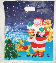 20Pcs/Lot Christmas Gift Bags Christmas gifts with white snowing darkblue background one face with handle 30*40cm LDPE