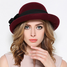 Queen Winter Women Wine Red Wool Felt Fedora Hats Black Vintage Ladies Church Cloche Hats