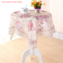 Hot Sale Flower Tablecloth Flax Tablecloths Round Rectangular Pastoral Roses Table Cloth Lace Edge Table Cover