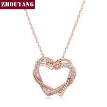 ZHOUYANG Top Quality Heart to Heart Rose Gold Color Pendant Necklace Jewelry Made with Austria Crystal Wholesale N062 N063(China)