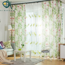 Sinogem New Nordic Thick Velvet Linen Cartoon Flamingo Curtain Bedroom  Window Decoration Modern Style Plant Pattern