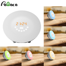 Colorful Bedroom Alarm Clock Light Sunrise Sunset Wake Up Alarm Clock Digital LED Time Display FM Radio Beside Lamp(China)