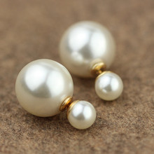 ES798 Fashion Trendy Double Sides Pearl Earring Two Ball Stud Earrings For Girls Crystal Jewelry High Quality 2017 Bijoux(China)
