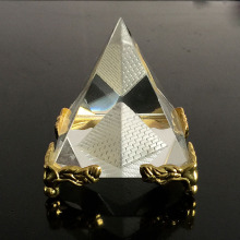 Egypt Crystal Glass Hollow Pyramid Metal Base Paperweight Fengshui Figurine Wicca Crafts Home Wedding Office Decor Ornaments(China)