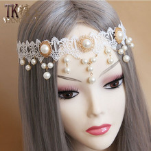 Simulated-pearl Headwear lace browband Hair bands Jewelery hair hoop barrette bride wedding hair accessories for women ornaments(China)