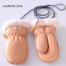 2017 sheepskin children thick autumn and winter without fingers gloves cut wool lining children's clothing winter gloves(China)