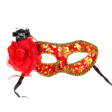 Red Flower Pattern Venetian Masquerade Masks Flower Princess Masked Fancy Dress Halloween Party Costume Lace Eye Masks
