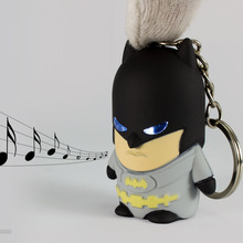 New Batman LED Flashlight Keychina with sound action toy figures Batman Keychain toys gift for child kids toys