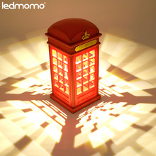 LEDMOMO Stylish Retro Telephone Booth Desk Table Lamp USB Rechargeable LED Touch Night Light for Kids Bedroom Decor Nightlight