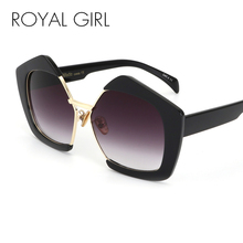 ROYAL GIRL Fashion Luxury Brand Oversized Pentagon Sunglasses Female Vintage Personality Half Frame Sun Glasses For Women SS081(China)