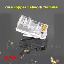 30PCS ST030b RJ45 Cable Connector COB High Quality Crystal Head 8P8C Pure Copper Network Connection(China)
