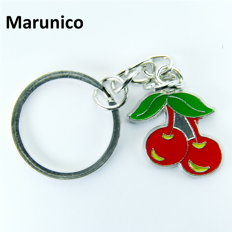 FREE SHIPPING BY DHL 100pcs/lot New Metal Cherry Shaped Keychains Lovely Mini Cherry Keyrings for Gifts