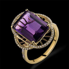 Hot Selling Vintage Emerald Cut 10x14mm Solid 14Kt Yellow Gold Diamond Amethyst Ring WU095B