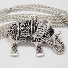 NQ030 Retro Antique Silver Color Hollow Lucky Elephant Animal Pendant costume Long Chain Vintage Necklace Jewelry for Women(China)