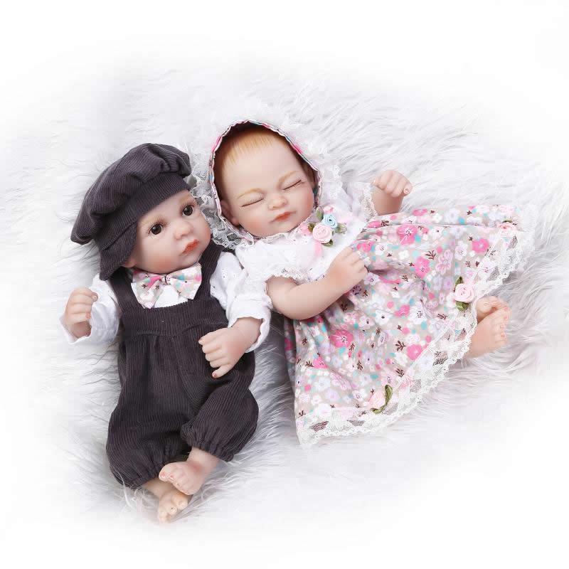 Mini Lovely Newborn Girl And Boy Babies11 Inch Full Body Silicone Vinyl Twins Reborn Dolls Handmade Children Christmas Gift<br><br>Aliexpress