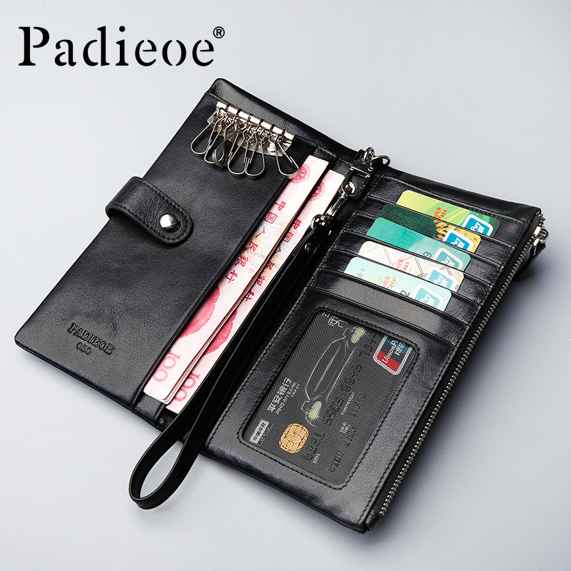 Padieoe New Genuine Cow Leather Men Wallets Casual Zipper Purse Men Luxury Designer Key Chain Holder Coin Pocket<br><br>Aliexpress