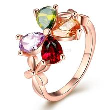 ZR384-B-8 Top Quality Gold Color Colorful AAA CZ Stone Crystal Clover Ring Women New Fashion Lucky Jewellery Bijoux Items(China)