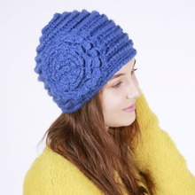 Hot New Winter Beanies Hats for Women Handmade Big Flower Warm Knitted hat Girls chapeau gorro Popular hat gorros(China)