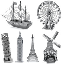 Best Price 3D Metal Puzzle DIY Stainless Steel Assembly Building Car Tower Ship Kids Toys Educational Solid Puzzle New Year Gift