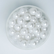 Hot Selling 90Pcs White Color Acrylic Plastic Beads Pearl Imitation Round Beads 12mm Dia. (PS-BSG02-05WH)