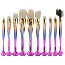 10pcs Professional Shell Makeup Brushes Set Cosmetics Foundation Eyeshadow Powder Blush Contour Cosmetic Makeup Brushes Tools(China)