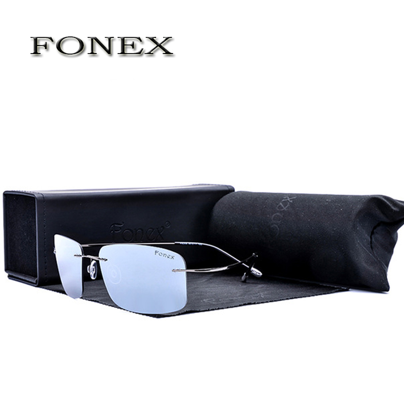 Fonex Rimless Titanium Polarized Sunglass Women Brand Designer Sun Glasses Mens Ultra Light Frame Coating Sunglasses f8206-2<br><br>Aliexpress