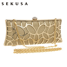 SEKUSA Diamonds Tie Women Evening Bags 5 Colors Day Clutches Handbags With Chain Shoulder Evening Bags For Evening Dress Tote(China)