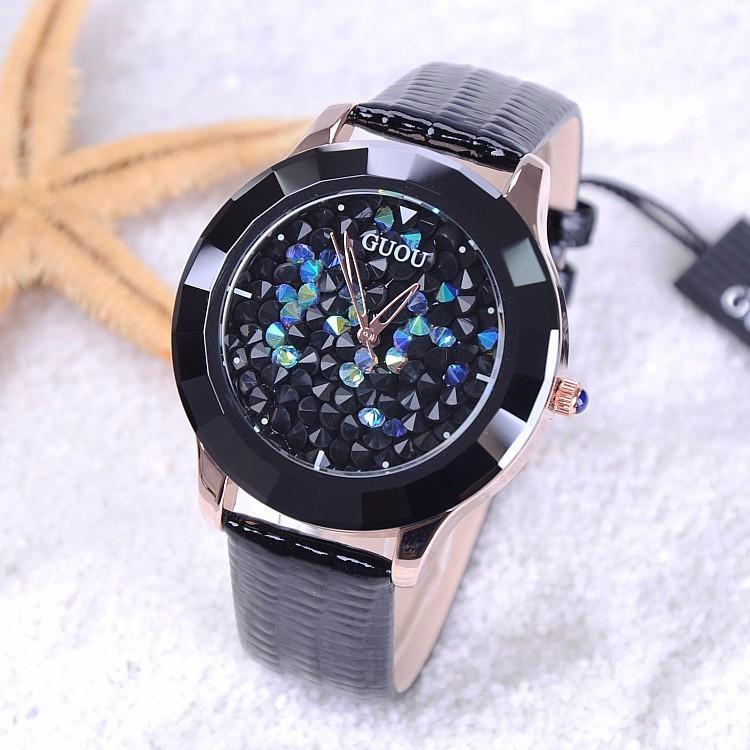 GUOU Watch Luxury Rhinestone Glitter Watch Women Watches Genuine Leather Diamond Watch Hour Clock relogio feminino reloj mujer<br>