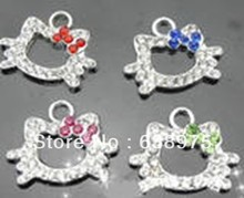 20pcs Hello Kitty hang Charms Fit Pet Collar Necklace Bracelet Cell Phone Charms(China)