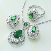 Otogo Transing Silver 925 Jewelry Sets Green Cubic Zirconia White CZ Water Drop for Women Earrings/Pendant/Necklace/Rings S185(China)