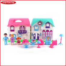 DIY Portable Mini Doll House Castle 2 Floors Backyard Playground And Furniture Preps Pretend Toy For Girls Play Figurines Room(China)