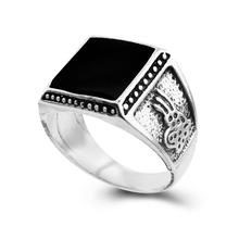 HOT Cheap 2017 Vintage Ring Jewelry Square Black Enamel Ring For Women/Men Antique Silver Plated Rings Christmas Gift(China)