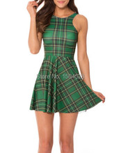 Olso knitting New 2015 Woman summer Dress Sexy Party Dress Tartan Green Reversible Skater Dress casual dress Free shipping