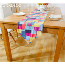 DUNXDECO Modern Colorful Check Mosaic Geometric Artistic Linen Cotton Table Runner Party Tablecloth Kitchen Cover Decoration