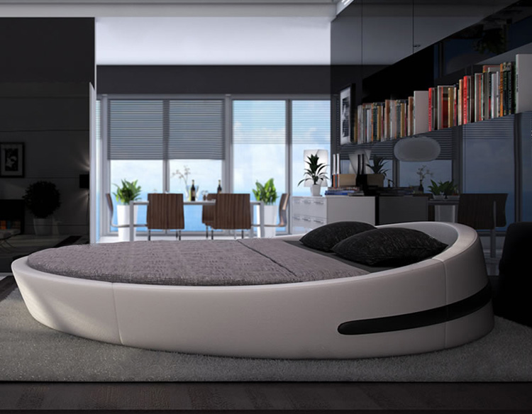 MYBESTFURN Italy Design Luxury large size round bed,Top grain leather Soft Bed, Villa King zise round beds furniture B71(China)