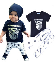 Summer Style 2017 Toddler Kids Boy Cartoon Transformers Costume T-shirt Tops + Pants 2Pcs Outfits Boys Cool Clothes Set DS15