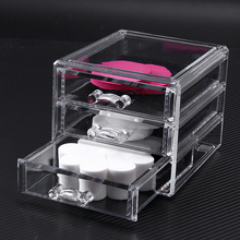 Clear Acrylic 3 Drawers Holder Box Cosmetic Makeup Organizer Lipstick Nail Polish Plastic Storage Box Women's Powder Box