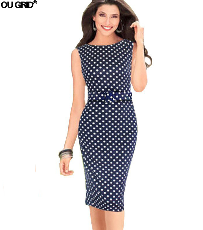 Ladies Office Dress 2016 New Arrivals Sleeveless O-neck Polka Dots Vintage Pencil Dresses Summer Plus Size Dresses Belt