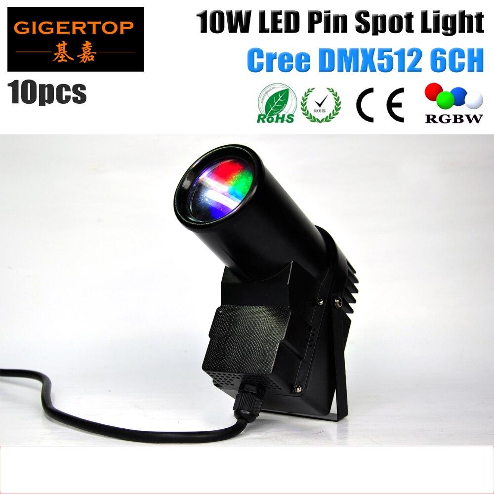 TIOPTOP 10pcs/lot DMX512 10W LED Pinspot Light with DMX512 Control 10 Watt Led Pin Spot Projection Lighting RGBW 4IN1 Christmas<br>