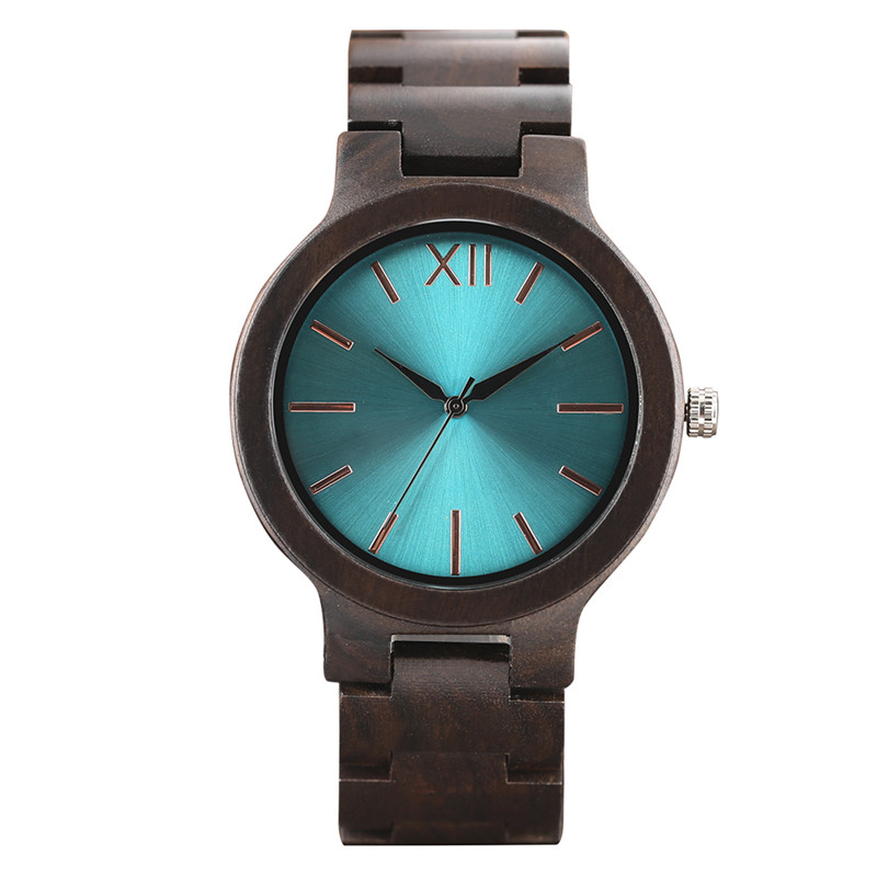 Fashion Cool Green Blue Yellow Mens Full Ebony Watch Bracelet Clasp Creative Unique Design Luxury Male Wood Watch Gift reloj<br>