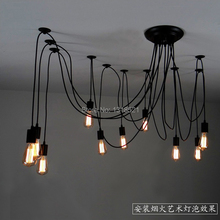Mordern Nordic Retro Edison Bulb Light Chandelier Vintage Loft Antique Adjustable DIY E27 Art Spider Ceiling Lamp Fixture Light(China)
