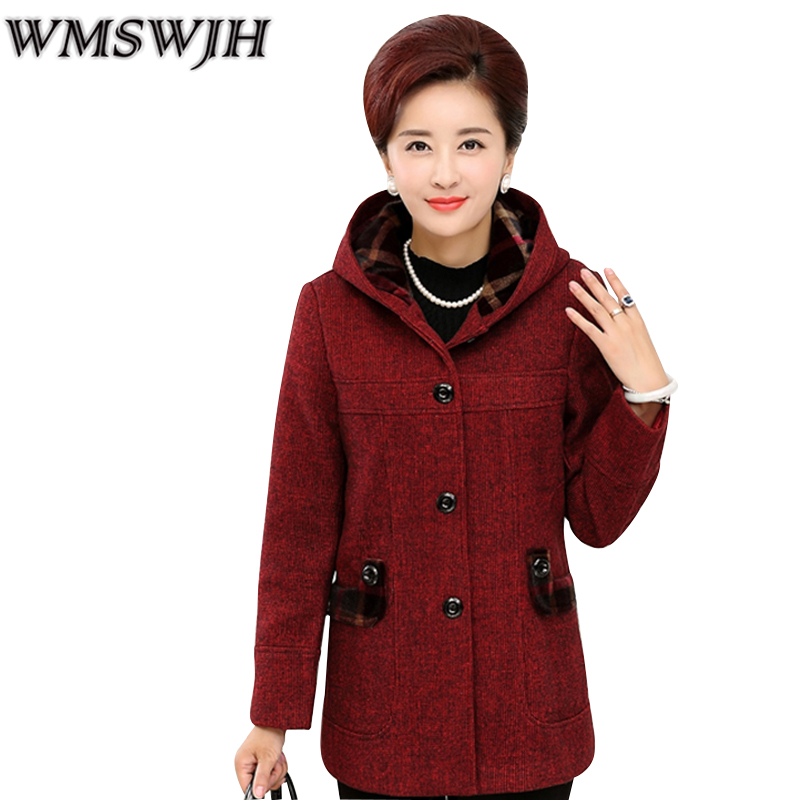 Parkas Middle-aged ladies Winter Coat Women Woolen Outerwear Mother Clothing Plus Velvet Cotton-padded Jacket Hooded Warm Coat Îäåæäà è àêñåññóàðû<br><br>