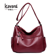 Kavard High Quality Sheepskin Leather Luxury Handbags Women Bags Designer Double Zippers Crossbody Bag For Women sac a main New(China)
