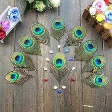 Free shipping / 50Pcs/Lot 8-10cm Length Nature Peacock Feather Eyes Blue Peacock Eye -Fly Tying Material -FREESHIPPING(China)