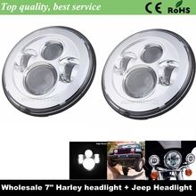 "Motorcycle LED 7"" Round Harley Car used LED Projection Headlight 7"" Led Forward Driving Headlight for Harley Hummer Camaro FJ JK"
