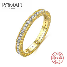ROMAD2017 new south Korean edition of S925 gold sterling silver single row of zircon ring fashion gold gift women's ring(China)
