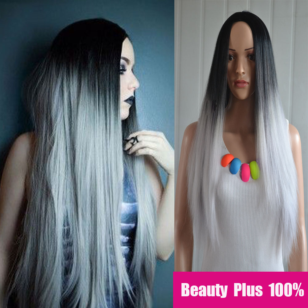 Grey Ombre Wig False Hair Synthetic Wigs For Black Women 26 Long Straight Natural Cheap Hair Kylie jenner Gray Wig Female Hair<br><br>Aliexpress