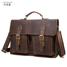 YUPINXUAN Cow leather vintage handmade crazy horse briefcase mens genuine leather messenger bags male business office bag Lawyer