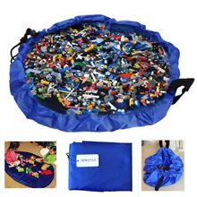 45CM Portable Kids Play Mat and Toy Storage Bag Lego Toys Organizer Bin Box Blue Pink Nylon Practical Storage Bags