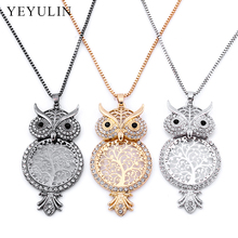 Trendy Copper Round Life Tree Rhinestone Owl Pendant Necklace In Pendant Necklaces For Women Men Computer Chip Long Chain 1pcs